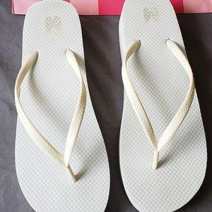 Victoria's Secret Shoes - Victoria's secret sexy white flip-flops Size 8
